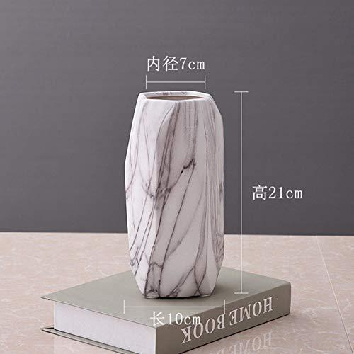 NOBRAND Florero Hecho a Mano Florero de ceramica de marmol Simple Decoraciones para el hogar Inserto de Interior Arreglo Floral Mesa de Comedor Accesorios geometricos Centros de Mesa