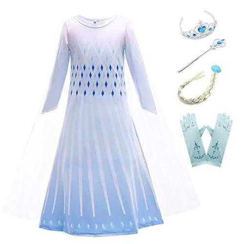AIYIMEI Nias Vestido de Princesa Elsa Disfraz Reino de Hielo Reina Traje de Fiesta Halloween Cosplay Navidad Costume - Regalo de Cumpleaos para Ninas 3-11Aos