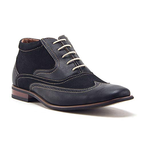 Jazame Men's Classic Wing Tip Ankle High Lace Up Dress Boots, Navy, 10.5