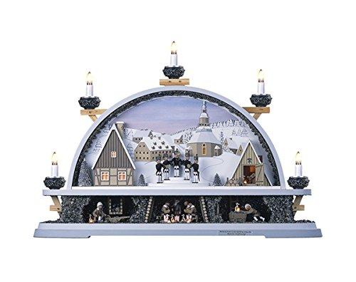 Schwibbogen Mettenschicht Seiffen BxHxT 58x40x12cm NEU Lichterbogen Fensterbogen Spitzbogen Erzgebirge Weihnachten Bergbau Bergmann Licht Holz Dekoration Beleuchtung Fensterschmuck Bogen