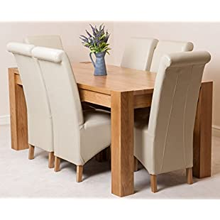 Kuba Solid Oak 180 x 90 x 78 cm Dining Room Kitchen Table & 6 Ivory Montana Leather Chairs