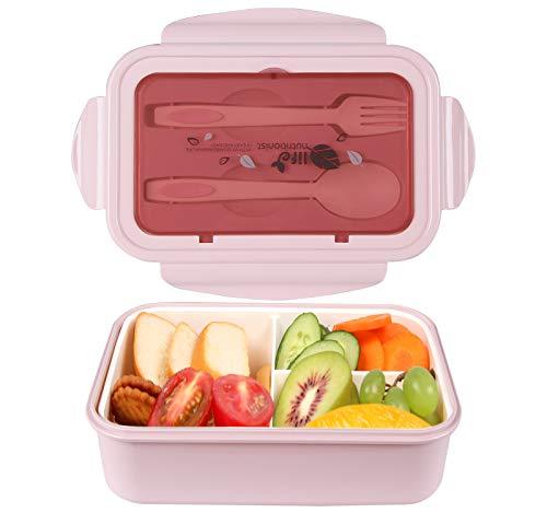 Lunchbox, Bento Boxen, Brotdose, Auslaufsichere Lunch-Boxen Kinder und Erwachsene, Bento Lunch Boxen mit 3 Fächern und Besteck, Lebensmittelbehälter BPA-frei, mikrowellen- und spülmaschinenfest (Rosa)