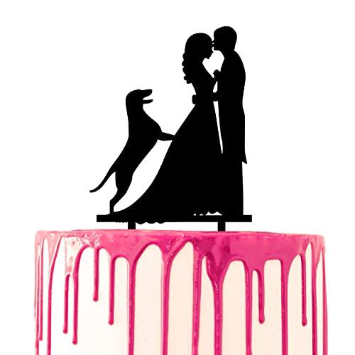 CARISPIBET decorazione per torta nuziale per sposo fronte bacio sposa con silhouette cane pastore tedesco
