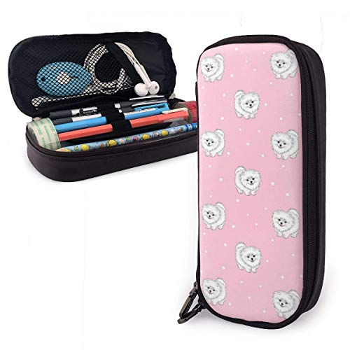 HHELI Pomeranians Puppies and Point Pencil Case,Large Capacity Pencil Bag with Durable Zipper Students Stationery Pen Bag for Pens and Other School Supplies