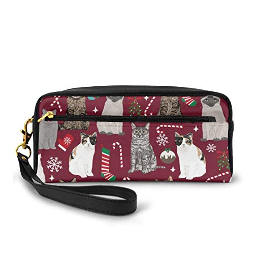 Yuanmeiju Cats Christmas Marroon Cosmetic Bag Portable Students Pencil Case for Girls Women Handbag Purse Make Up Pouch