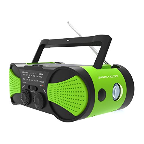 Emergency Weather Radio Hand Crank Self Powered AM/FM/NOAA Solar Radios with Rechargeable 4000mAh Power Bank, Audio Input, 1W Solar Panel, 3W Flashlight, Reading Lamp for Hurricanes, Tornadoes(New)