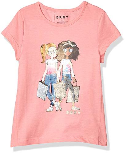 DKNY Girls' T-Shirt, Back Slit Cross high Low Conch Shell, 6X