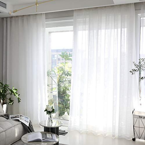 Home Brilliant semi sheer finestra righe bianco tende, pannelli per camera cucina armadio ripiani tende asta tascabile moderno Curtains W 54' x L 84' Linen Texture