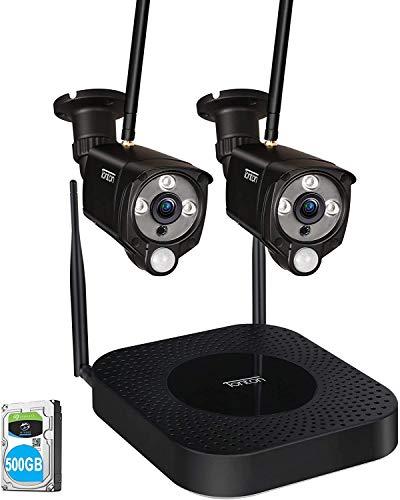 Tonton WLAN Überwachungskamera Set, 4ch 1080P NVR-Videoüberwachungs Sets mit 2Stk 2MP Überwachungskamera DIY-Setup Wetterfeste Kostenlose APP-Fernbedienung Audioaufnahme PIR Bewegungsmelder 500GB
