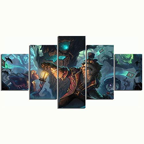 agwKE2 5-teiliges Strategie-Kartenspiel Hearthstone Heroes of Warcraft Poster Wandkunst Leinwandbilder für Wohnkultur / 30x40 30x60 30x80cm (kein Rahmen)