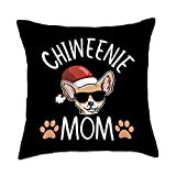 Chiweenie Dog Mom Mama Gifts Chiweenie Mom Christmas Hat Cute Puppy Owner Dog Lover Gift Throw Pillow, 18x18, Multicolor