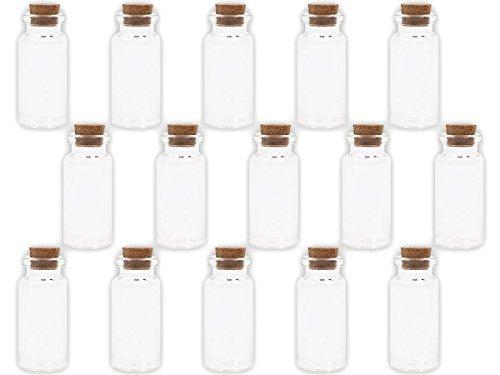 Alsino 20 Stück Leere Mini Glasfläschchen Schnapsflaschen Gewürzgläser mit Korken, 2 x 5 cm, 10 ml, Pflanzensamen, Gewürzdose, Hochzeitsgeschenk, Deko-Accessoire, GF-02