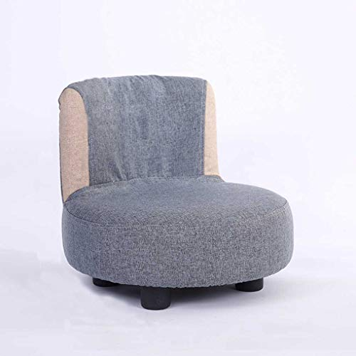 DKZ Silla pequeña de madera maciza para niños, respaldo para el hogar, asiento de bebé, silla creativa, silla simple, silla de guardería, sofá, cojín (gris)