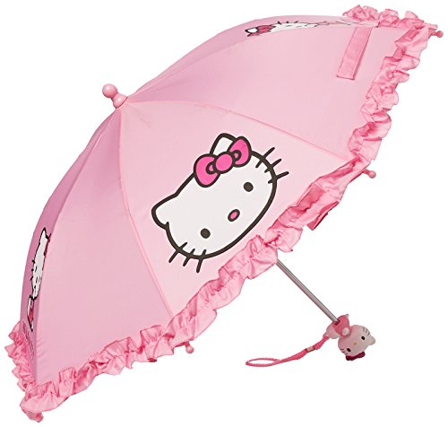 SANRIO Girls' Umbrella with 3D Hello Kitty Figurine Handle Applique 20' Pink