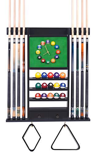 Queue-Rack – 8 Pool – Billardstock & Ball Wandregal mit Uhr wählen Sie Mahagoni, Schwarz oder dunkle Eiche Finish (schwarz)