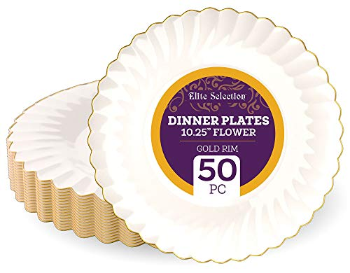 """Disposable Plastic Dinner Plates - 50 Pack 10.25"""" Ivory Round Dessert Plate with Elegant Gold Flower Rim Design for Wedding, Birthday, Party - by Elite Selection"""