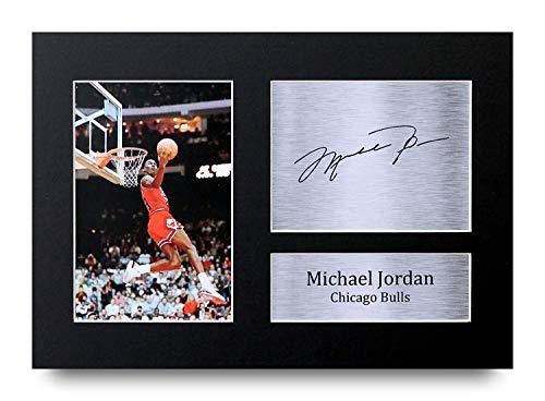 HWC Trading Michael Jordan A4 Senza Cornice Firmato Regalo Visualizzazione delle Foto Print Immagine Autografo Stampato per Chicago Bulls Appassionati di Basket