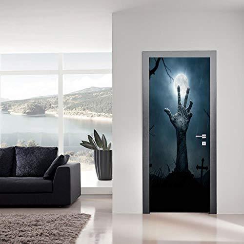 BXZGDJY 3D-deursticker, zelfklevend, voor hand, deurbehang, zelfklevend, deur, zelfklevend, 3D-deur-raam-behang, verwijderbare deur-decoratie-plakaat muursticker voor binnen 77X200CM