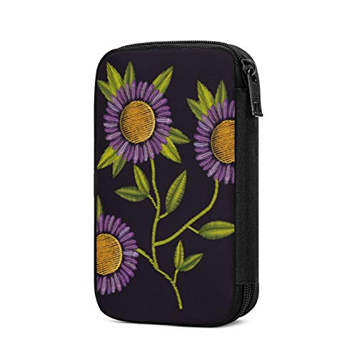 Electronics Organizers, Colorful Purple Daisy Print Electronic Accessories Case Portable Cable Storage Bag For Cord,Powerbank,Charger,Earphone,U Disk,Sd Card