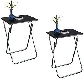 eHemco Set of 2 Folding Tv Trays Tv Tables - Black Tops