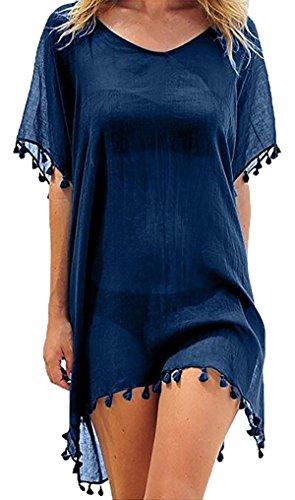 Womens Chiffon Beachwear Tassel Beach Dress Bikini Swim Bathing Suit Cover Up(Navy)