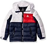 Reebok Boys' Big Active Hooded Bubble Jacket, Classic Navy/White/Red, 10/12