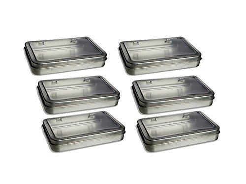 """6 Rectangular Metal Tin Box - Plain Silver Hinged Blank Storage Case, Survival Kit Tins 5.5"""" x 3.5"""""""