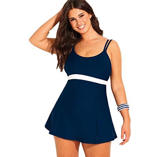 VENCA Zweifarbiges Badekleid mit Cups mit Einlagen - 014825,Nachtblau,44