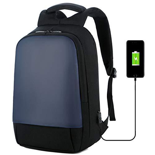 Anti diefstal Rugzak Travel Zakelijke Rugzakken Heren Professioneel Rugzakken14 inch laptoprugzak met USB-oplaadpoort Tassen (Blauw)