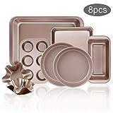 8-Piece Nonstick Bakeware Set,1 Roasting Pan,1 Square Pan,1 Loaf Pan,1 Muffin Pan,2 Round Cake Pan,2...