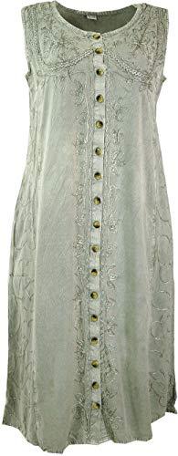 Guru-Shop Besticktes Indisches Boho Hippie Kleid, Grau, Damen, Design 1, Synthetisch, Size:40, Lange & Midi-Kleider Alternative Bekleidung