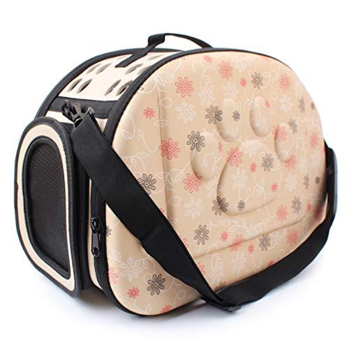 Huisdier Tas, Print Voetafdruk Draagbare Draagbare Inklapbare Hond Kat Uit Reizen Koffer Kooi Schoudertas, Roze Beige Grijs
