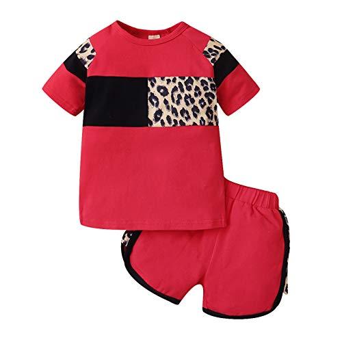 Beudylihy Conjunto de ropa para bebé para niños y niñas, unisex, con capucha, mono de manga corta, 0-4 años, 2 unidades rojo 2-3 Años