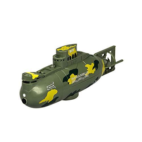 DBXMFZW Mini Control Remoto de 6 Pulgadas Submarino RC Barcos para Piscinas y Lagos Función de corrección automática RC Boat Simulación Militar RC Regalos para niños de 7 a 12 años (Color : Verde)