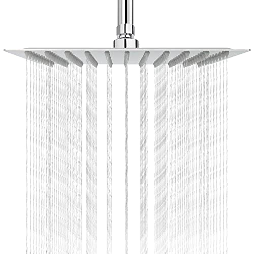 HIGH PRESSURE Rain Shower head, NearMoon High Flow Stainless Steel Square ShowerHead, Pressure Boosting Design, Awesome Shower Experience Even At Low Water Flow (10 Inch, Chrome Finish)