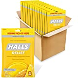 HALLS Relief Honey Lemon Flavor Sugar Free Cough Drops, 70 Drops (Packs of 12)