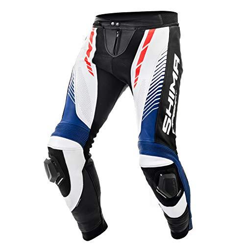 SHIMA Apex Broek, Leren broek pak Sport Mannen Met Protektors Motorfiets Broek Broek van motorleer 48 Red Fluo