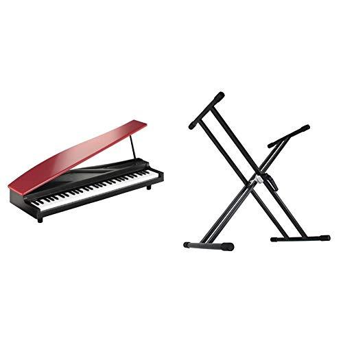 【セット買い】KORG MICROPIANO マイクロピアノ ミニ鍵盤61鍵 レッド 61曲のデモソング内蔵 自動演奏可能 & Dicon Audio KS-020 Keyboard Stand X型キーボードスタンド ダブルレッグ
