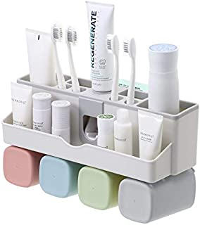 DRAGON VINES Toothbrush Holder Wall Mounted with Toothpaste Dispenser,Toothpaste Holder Bathroom Organizer 4 Cups Holder Stand