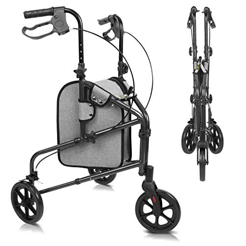 Vive Mobility 3 Wheel Rollator Walker - Lightweight and Foldable for Seniors, Elderly, Men, Women - Folding Heavy Duty Tri-Wheeled for Indoor/Outdoor Use - All Terrain Walking Support With Bag (Black)