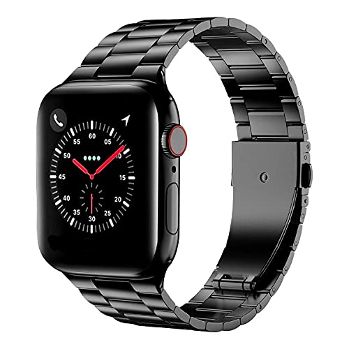HUANLONG Compatible for Apple Watch Band 42mm 44mm 38mm 40mm Replacement Stainless Steel Metal iWatch Band for Apple Watch Series SE 6/5/4/3/2/1 (Black, 42/44mm)
