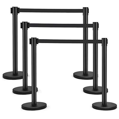 Goplus 6Pcs Stanchion Post Crowd Control Barrier with 6.5' Retractable Belt, Stainless Steel Stanchion Posts Queue Pole, 35