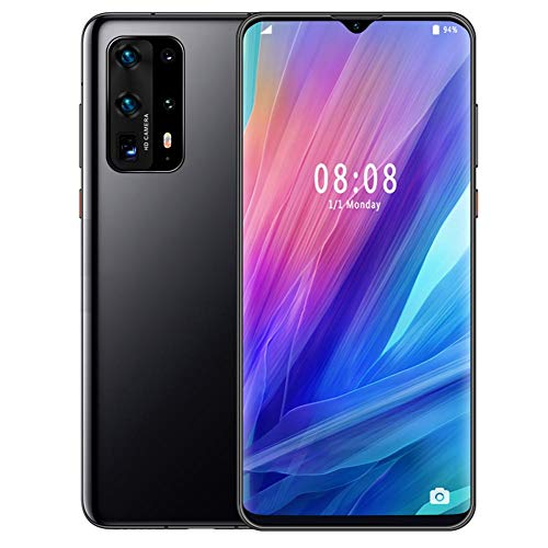 Face Unlock Smartphone,MTK6580P Quad-core 6.7' Metal Black Drop Screen Fingerprint Mobile Phone,6+64G Dual Cards Dual Standby,800W Front 1300W 2 Rear Camera,4800mAh Battery,for Android 9.1(UK)