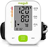 Blood Pressure Monitor ,Meguo Digital BP Machine ,Automatic Accurate BP Monitor with 2×120 Sets Memory, Largest Display, 22-40 cm Upper Arm Cuff for Home Use & Pulse Rate Monitoring Meter