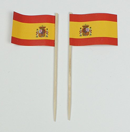 Buddel-Bini Party-Picker Flagge Spanien Papierfähnchen in Profiqualität 50 Stück 8 cm Offsetdruck Riesenauswahl aus eigener Herstellung