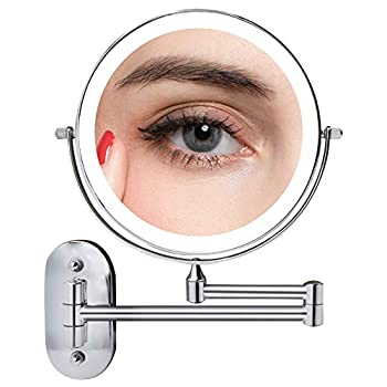 Wall Mounted Lighted Vanity Mirror 8 Inch 1X/10X Magnifying Makeup Mirror with 3 Color Lights Double Sided Dimmable 360 Degree Screen Touch Chrome Bathroom Shaving Mirror Chrome