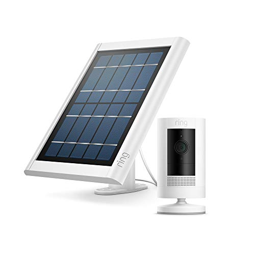 Ring Stick Up Cam Solar von Amazon, HD-Sicherheitskamera mit Gegensprechfunktion, funktioniert mit Alexa | Mit kostenlosem 30-tägigem Probeabonnement von Ring Protect | Weiß