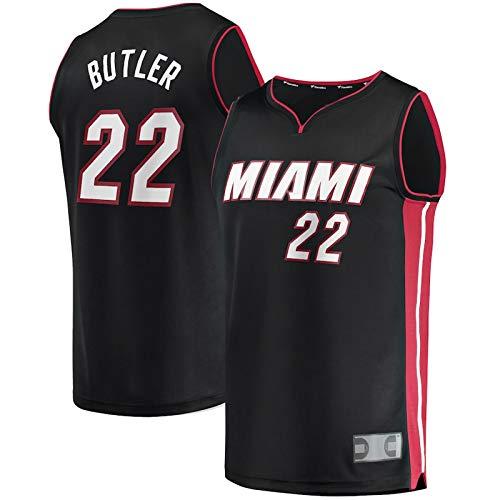 Negro # 22 Jersey Jersey Sudadera Mayordomo Lejos Baloncesto Juventud con Capucha Ocio Transpirable Miami Jimmy Sudadera Chaleco Calor Jersey