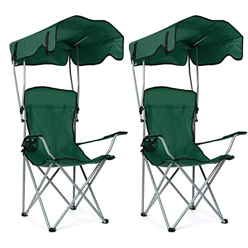 Outdoor Camp Chairs with Shade Folding Portable Beach Camping Recliner Canopy Chair with Arm Rest and Cup Holder for Outdoor Beach Camp Fishing Park...
