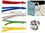 100 Pcs 1/4 Inch (6mm) Sewing Elastic Band Cord with Adjustable Buckle Stretchy Earlobe Lanyard Earmuff Rope Making Supplies Adjustable Elastic Buckle Stretch String for DIY in 5 Assorted Colors